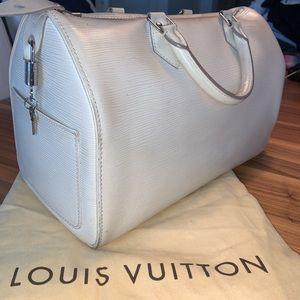 LOUIS VUITTON ivory epi leather speedy
